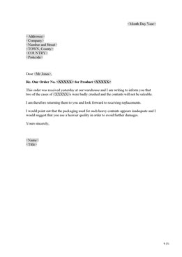 Complaint regarding supplied goods (UK)