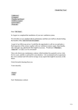 Follow-up letter to customer (UK)