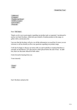 Letter enclosing brochure (UK)