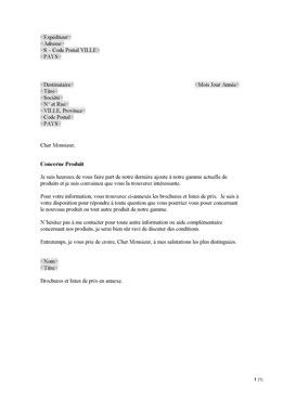 Lettre commerciale - nouveau produit (FR) | Sign On