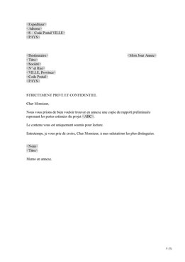 Lettre d´introduction confidentielle (FR)