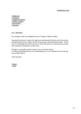 Letter of condolence (UK)