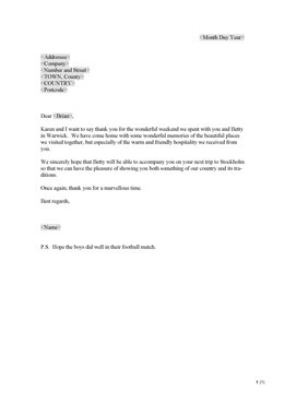 Thank-you letter - hospitality (UK)