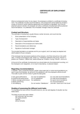 Certificate of employment - Information
