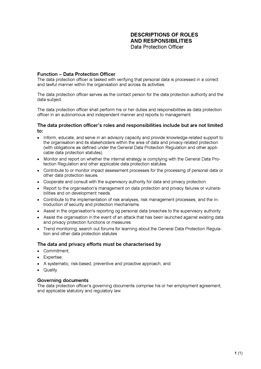 Descriptions of roles and responsibilities - Data Protection Officer